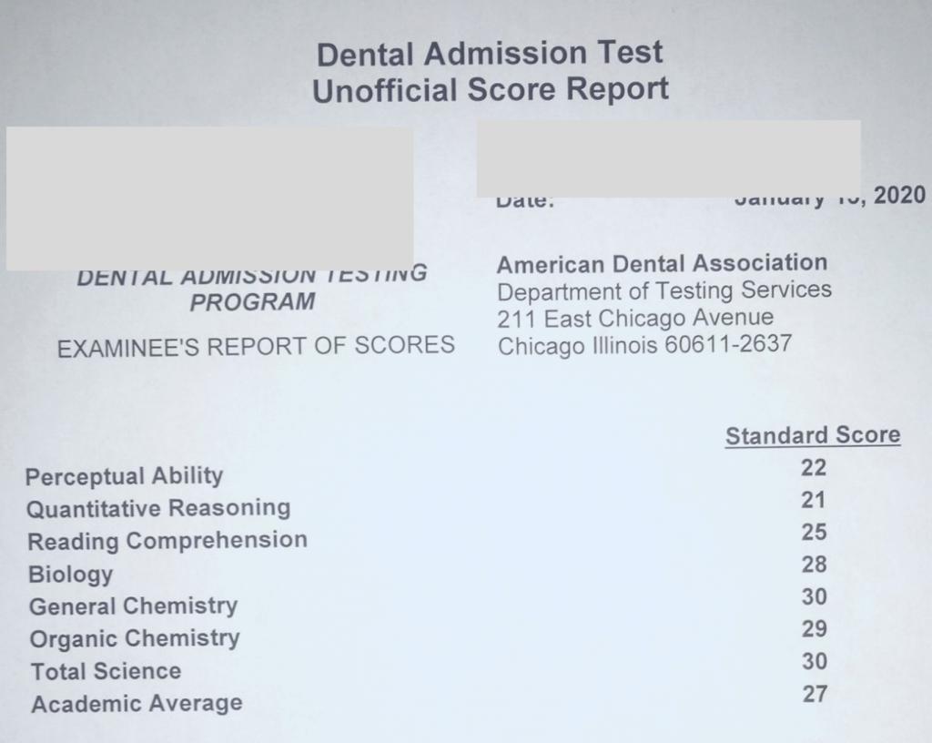 DAT Score Report Kevin Tang