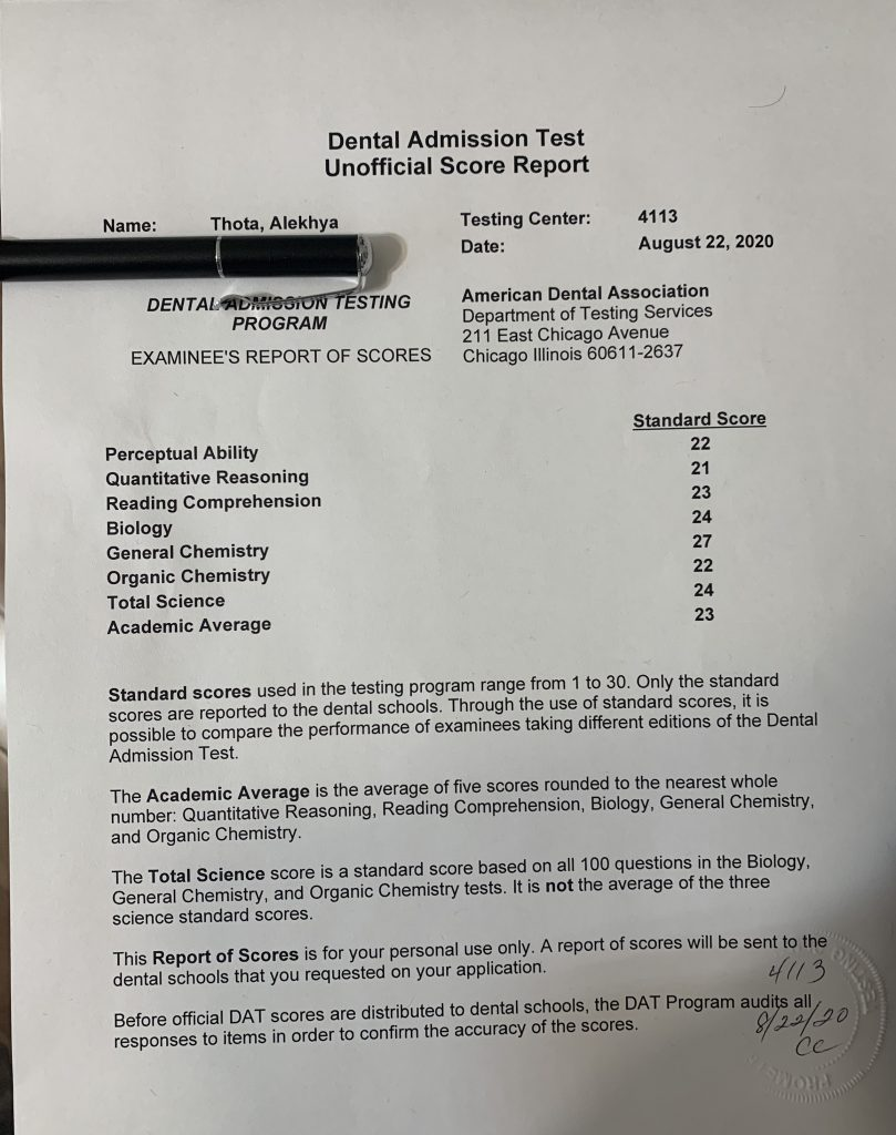 Alekhya Thota - DAT Score Report