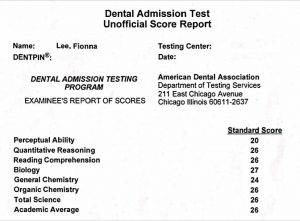 Fionna Lee Dental School Admission Test DAT Score Report using CrackDAT.com